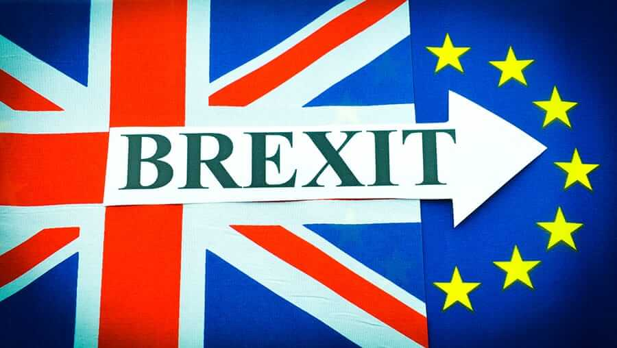 BREXIT representation with UK flag, European Union flag and the word BREXIT with an arrow pointing to the right. copyright Lucian Milasan