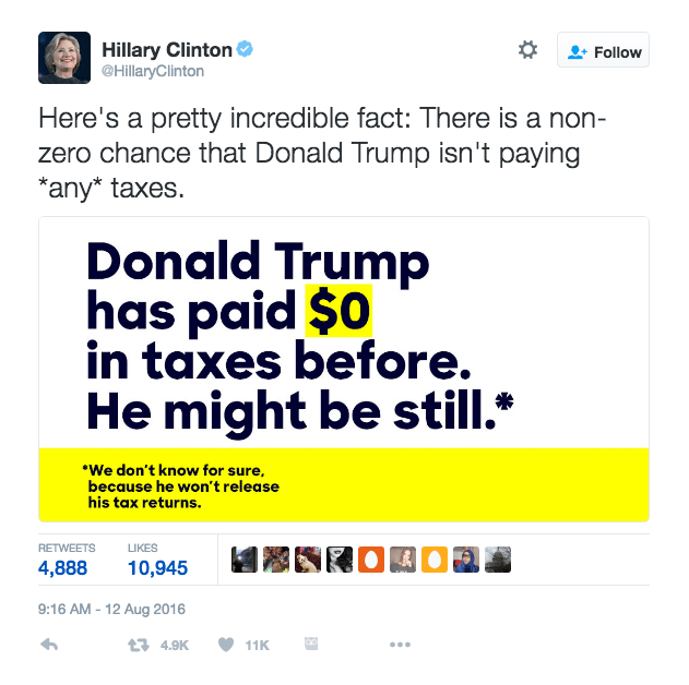 Hillary Clinton's tweet about Donald J. Trump