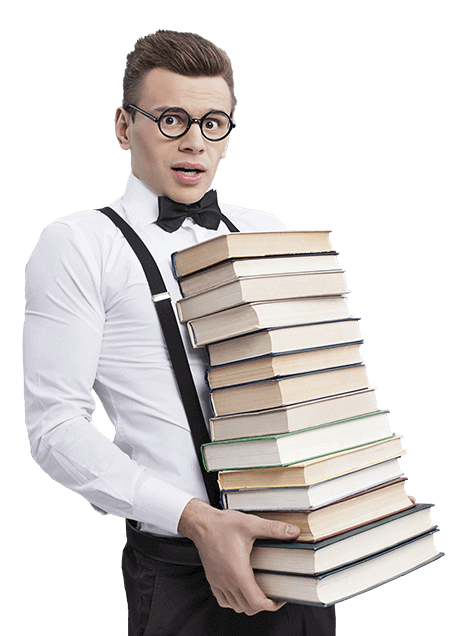 Nerd carrying a stack of books