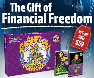 get cashflow for kids board game, rich kid smart kid book, and escape the rat race graphic novel for $59