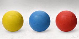 yellow and blue and red medicine balls